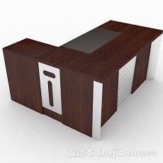 棕色木质高档班台3d模型下载