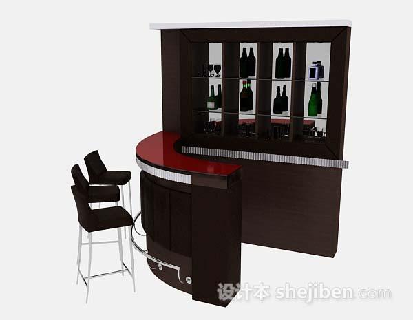 黑色酒柜摆台桌椅组合
