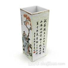 中式方形瓷器3d模型下载