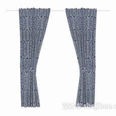 蓝灰色花纹窗帘3d模型下载