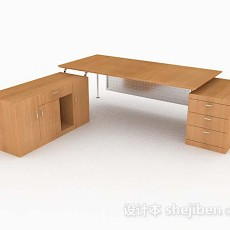 黄色木质办公桌子3d模型下载