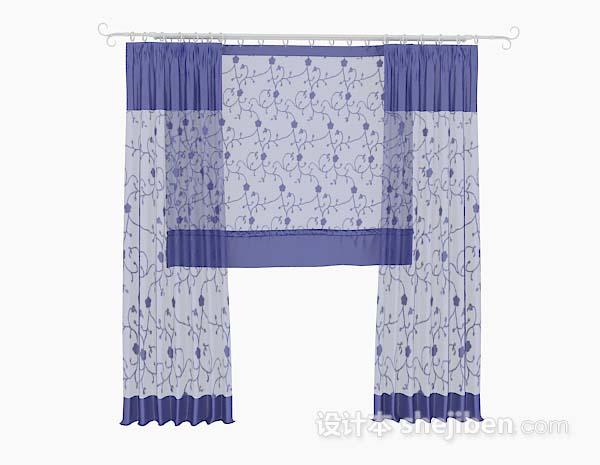 蓝色花纹纱质窗帘