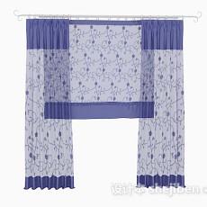 蓝色花纹纱质窗帘3d模型下载