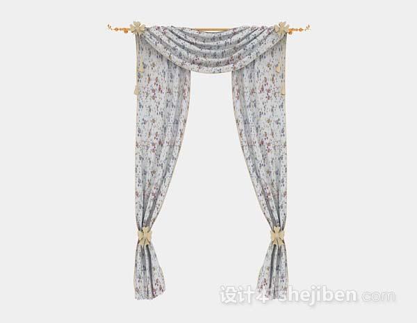 纱质灰色花纹窗帘