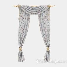 纱质灰色花纹窗帘3d模型下载