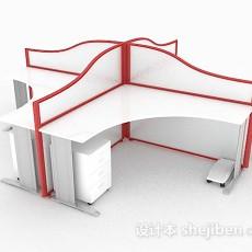 白色红边四人办公桌3d模型下载