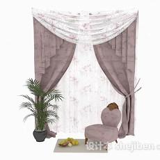 暗粉色纱花纹窗帘3d模型下载