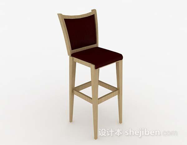 暗红色木质吧台椅