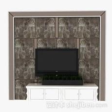 棕色电视墙3d模型下载