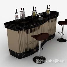 黑金色吧台桌椅3d模型下载