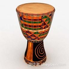 彩色非洲鼓3d模型下载