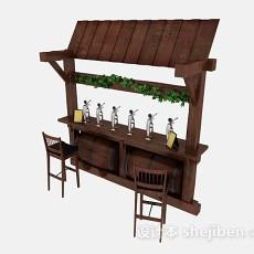 木质棕色啤酒吧台3d模型下载