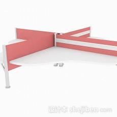 粉色四人座办公桌3d模型下载