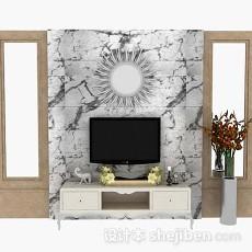 大理石电视背景墙3d模型下载
