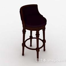 欧式木质紫色休闲椅3d模型下载
