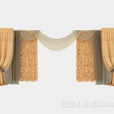 欧式华丽黄色窗帘3d模型下载