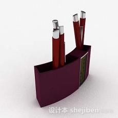 紫色简约笔筒3d模型下载