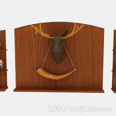 客厅装饰木质背景墙3d模型下载