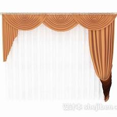 欧式橙色家居窗帘3d模型下载