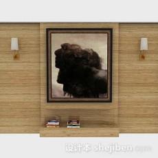 木质装饰背景墙3d模型下载