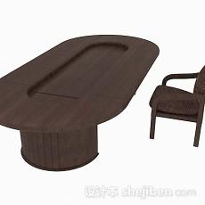 深棕色椭圆形班台3d模型下载