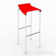 现代简约红色凳子3d模型下载
