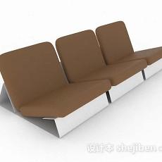 棕色休闲排椅3d模型下载