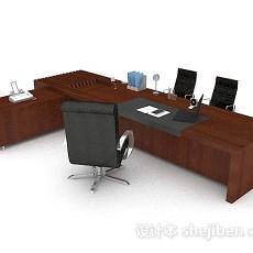 木质办公大班台3d模型下载