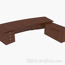 棕色木质大班台3d模型下载