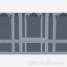 欧式灰色背景墙3d模型下载