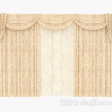 欧式暖黄色窗帘3d模型下载