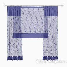 蓝色花纹窗帘3d模型下载