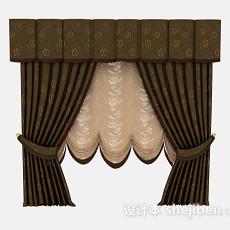欧式家居棕色窗帘3d模型下载