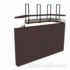 简单木质红酒架3d模型下载