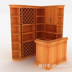 黄色小吧台柜3d模型下载