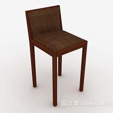 木质棕色高脚椅3d模型下载