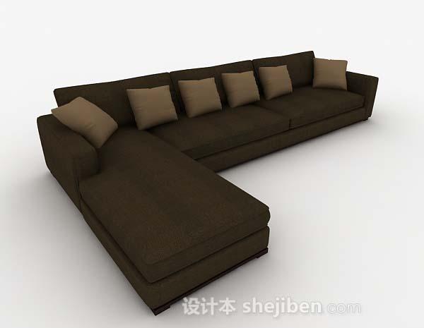 深绿色简约多人沙发