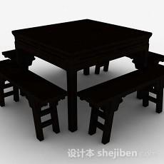 中式四方桌椅椅3d模型下载