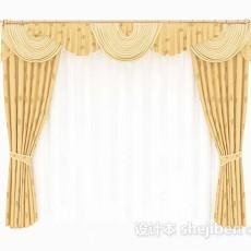 黄色家居花朵窗帘3d模型下载