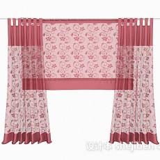 红色花纹窗帘3d模型下载