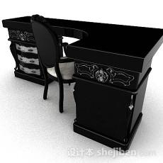 欧式黑色书房桌椅组合3d模型下载