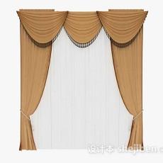 棕色欧式窗帘3d模型下载