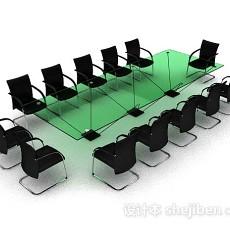 绿色会议桌椅3d模型下载