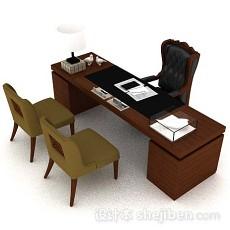 木质办公班台3d模型下载