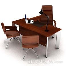 现代棕色木质办公桌椅3d模型下载
