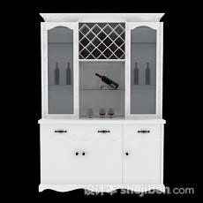 白色木质家居酒柜3d模型下载