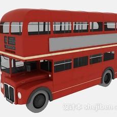 红色双层巴士3d模型下载