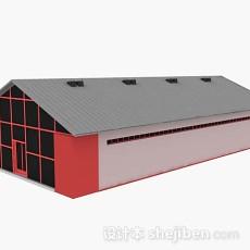 木质红色平房3d模型下载