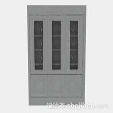 灰色简单木质书柜3d模型下载