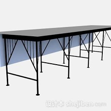黑色办公桌3d模型下载